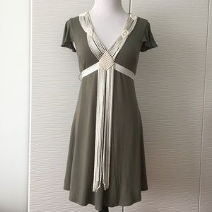 Bebe Olive Ribbon and Weave Dress